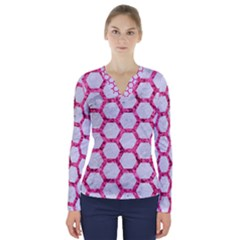 Hexagon2 White Marble & Pink Marble (r) V Neck Long Sleeve Top