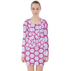 Hexagon2 White Marble & Pink Marble (r) V Neck Bodycon Long Sleeve Dress