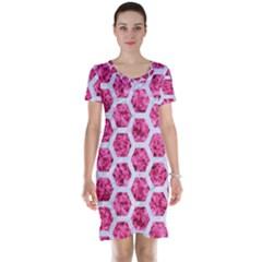 Hexagon2 White Marble & Pink Marble Short Sleeve Nightdress