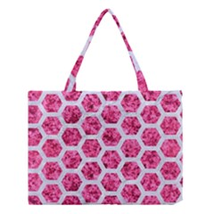 Hexagon2 White Marble & Pink Marble Medium Tote Bag
