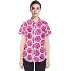 Hexagon2 White Marble & Pink Marble Women s Short Sleeve Shirt