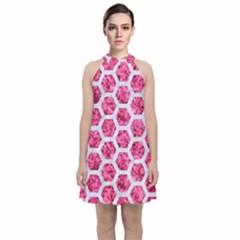 Hexagon2 White Marble & Pink Marble Velvet Halter Neckline Dress