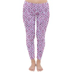 Hexagon1 White Marble & Pink Marble (r) Classic Winter Leggings