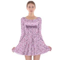 Hexagon1 White Marble & Pink Marble (r) Long Sleeve Skater Dress