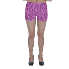 Hexagon1 White Marble & Pink Marble Skinny Shorts
