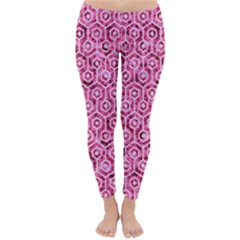 Hexagon1 White Marble & Pink Marble Classic Winter Leggings