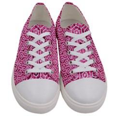 Hexagon1 White Marble & Pink Marble Women s Low Top Canvas Sneakers