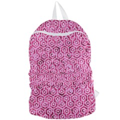 Hexagon1 White Marble & Pink Marble Foldable Lightweight Backpack by trendistuff