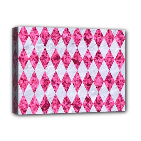 Diamond1 White Marble & Pink Marble Deluxe Canvas 16  X 12