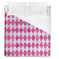 Diamond1 White Marble & Pink Marble Duvet Cover (queen Size)
