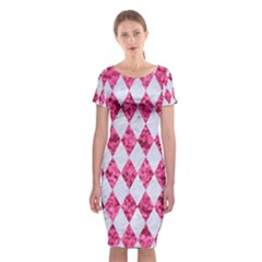 Diamond1 White Marble & Pink Marble Classic Short Sleeve Midi Dress