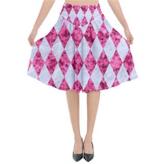 Diamond1 White Marble & Pink Marble Flared Midi Skirt