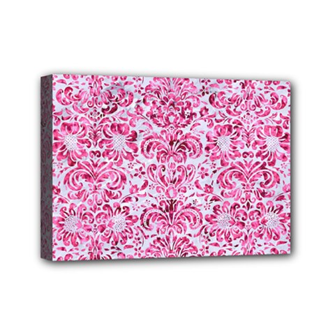 Damask2 White Marble & Pink Marble (r) Mini Canvas 7  X 5  by trendistuff