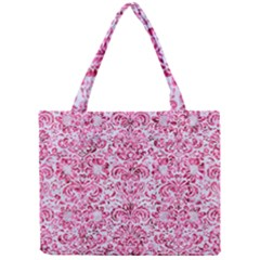 Damask2 White Marble & Pink Marble (r) Mini Tote Bag