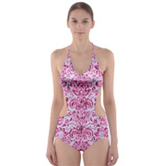 Damask2 White Marble & Pink Marble (r) Cut Out One Piece Swimsuit