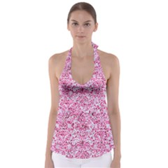 Damask2 White Marble & Pink Marble (r) Babydoll Tankini Top