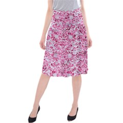 Damask2 White Marble & Pink Marble (r) Midi Beach Skirt