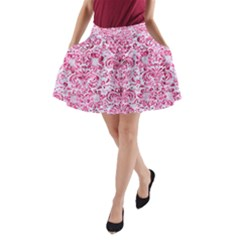 Damask2 White Marble & Pink Marble (r) A Line Pocket Skirt