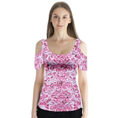 Damask2 White Marble & Pink Marble (r) Butterfly Sleeve Cutout Tee