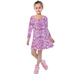 Damask2 White Marble & Pink Marble (r) Kids  Long Sleeve Velvet Dress