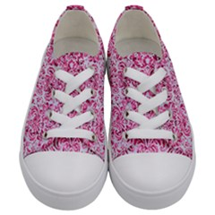 Damask2 White Marble & Pink Marble (r) Kids  Low Top Canvas Sneakers