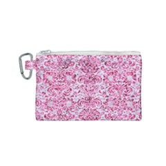 Damask2 White Marble & Pink Marble (r) Canvas Cosmetic Bag (small) by trendistuff