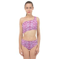 Damask2 White Marble & Pink Marble (r) Spliced Up Two Piece Swimsuit