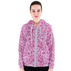 Damask2 White Marble & Pink Marble Women s Zipper Hoodie