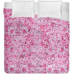 Damask2 White Marble & Pink Marble Duvet Cover Double Side (king Size)