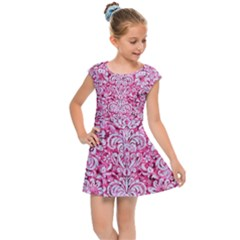 Damask2 White Marble & Pink Marble Kids Cap Sleeve Dress