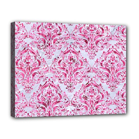 Damask1 White Marble & Pink Marble (r) Canvas 14  X 11