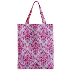 Damask1 White Marble & Pink Marble (r) Zipper Classic Tote Bag