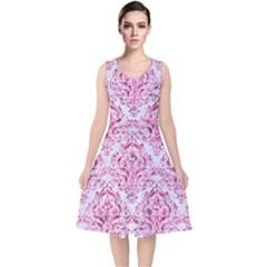 Damask1 White Marble & Pink Marble (r) V Neck Midi Sleeveless Dress