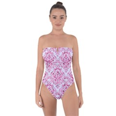 Damask1 White Marble & Pink Marble (r) Tie Back One Piece Swimsuit