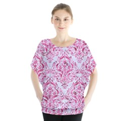 Damask1 White Marble & Pink Marble (r) Blouse