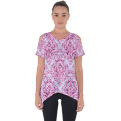 Damask1 White Marble & Pink Marble (r) Cut Out Side Drop Tee