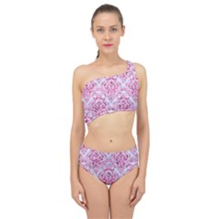 Damask1 White Marble & Pink Marble (r) Spliced Up Two Piece Swimsuit