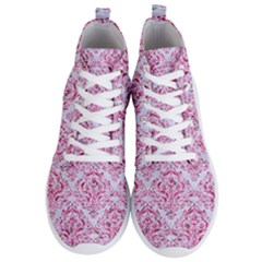 Damask1 White Marble & Pink Marble (r) Men s Lightweight High Top Sneakers