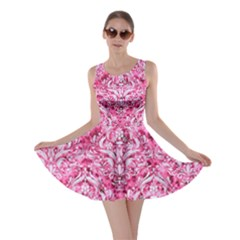 Damask1 White Marble & Pink Marble Skater Dress