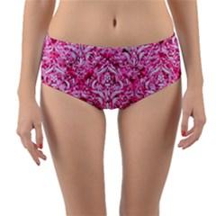 Damask1 White Marble & Pink Marble Reversible Mid Waist Bikini Bottoms by trendistuff