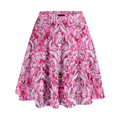Damask1 White Marble & Pink Marble High Waist Skirt