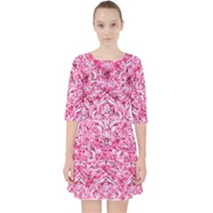 Damask1 White Marble & Pink Marble Pocket Dress