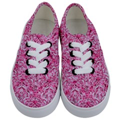 Damask1 White Marble & Pink Marble Kids  Classic Low Top Sneakers
