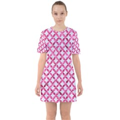 Circles3 White Marble & Pink Marble (r) Sixties Short Sleeve Mini Dress