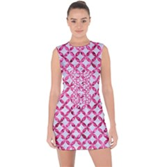 Circles3 White Marble & Pink Marble (r) Lace Up Front Bodycon Dress