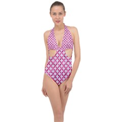 Circles3 White Marble & Pink Marble (r) Halter Front Plunge Swimsuit