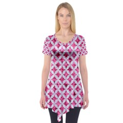 Circles3 White Marble & Pink Marble Short Sleeve Tunic