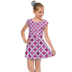 Circles3 White Marble & Pink Marble Kids Cap Sleeve Dress