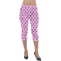 Circles3 White Marble & Pink Marble Lightweight Velour Capri Leggings