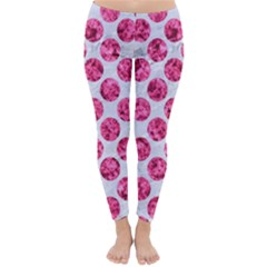 Circles2 White Marble & Pink Marble (r) Classic Winter Leggings